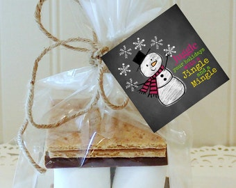 S'mores Kits, 12 S'mores Favor Kits, Snowman JINGLE AND MINGLE S'mores Kit, S'mores Favors, Christmas Favors, Holiday S'mores Party Favor