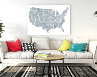 United States Map Large Watercolor Map Usa Map Print United States Home Decor Usa Map Poster