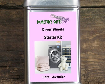 Dryer Sheet Lavender - Set of 6 Sachets and 2 Muslin Bags Start Pack - Clean, fresh, and calming - Eco friendly Laundry