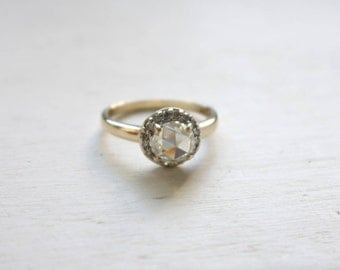 ON HOLD For Megan: 7.00mm Rose Cut Moissanite in Yellow and White Gold Vintage Style Diamond Halo Ring, with Gold Band