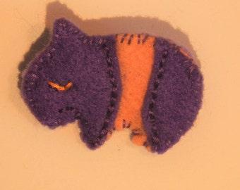 Tapir brooch tapir pin purple pink felt felt