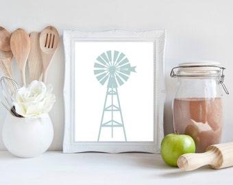 Windmill, printable, windmill wall decor, windmill decor, wall art, wall decor, farmhouse decor, farmhouse wall decor, kitchen decor, prints
