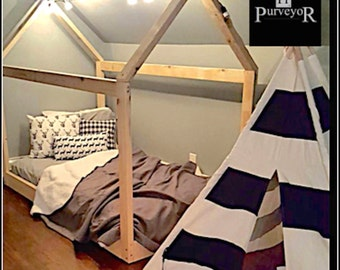 """Twin Bed Frame house bed (2x3"""" pieces) with slats"""