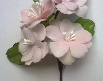 Brooch branch of almond or cherry blossom. Almond, cherry blossom; hand painted pin safety. PIN synthetic silk white/pinkish flowers