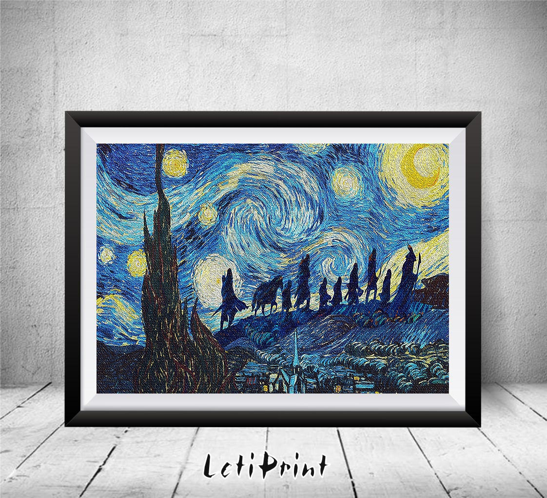 lord of the rings starry night print wall art decor lord of zoom