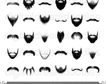 Beard Clipart, Beard Clip Art, Moustache Clipart, Mustache Clip Art, Goatee Image, Five O Clock Shadow, Stubble Scrapbook, Digital Download