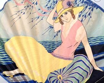 1920s advertising fan flapper girl Art Deco vintage antique