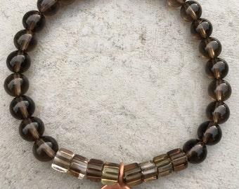 Bracelet // Smoky Quartz, Karen Hill Tribe Copper // Stretch Wrist Mala