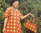 Red and Lime Green African Dress  Off Shoulder Ankara Dress African Print Bardot Style Dress African print Dress