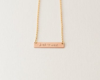 Custom Rose Gold Bar Necklace - name, initial, custom, date, hand stamped