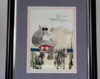 Hippo Art, Hippo Wall Art, Hippo Prints, Hippo Nursery Art, Decoupage Prints, Hippo Nursery Wall Art, Girls Room Wall Art, Safari Animal Art