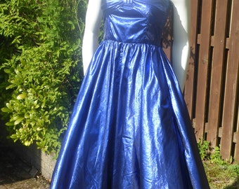 Vintage 50's style blue metallic party dress