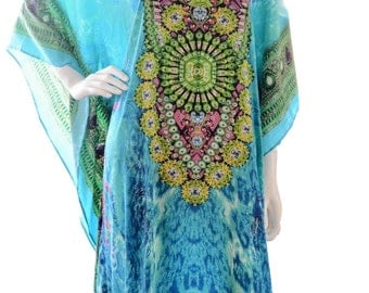 kaftan, digital print kaftan, caftan dress, plus size dress, beach kaftan dress free size dress in blue embellished caftans