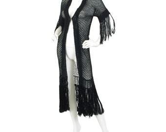1920's Antique Rare Black Silk Crochet Knit Fringe Duster Jacket Sz XS S
