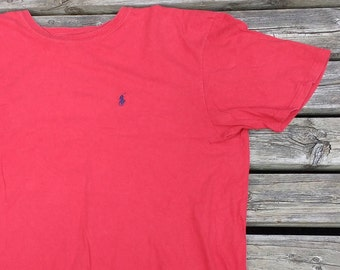 Vintage 90's Polo Ralph Lauren Red t-shirt Made in Canada Large