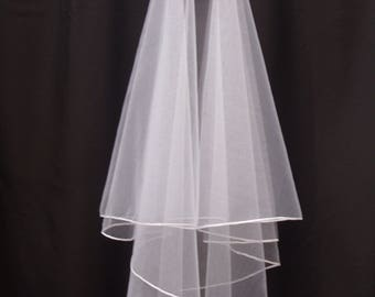Wedding Veil - 2.5 mm Lustre Edged 2 tier English Tulle Veil