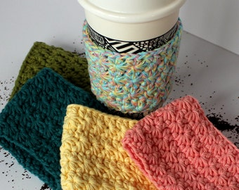 Set of Two Coffee Cup Sleeves/Cozies (100% cotton, hand-crocheted, choice of colour)