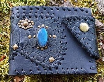 Labradorite steampunk Gothic leather wallet handmade