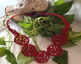 Red bib necklace, Red chokers necklace, Micro macrame  necklace, Statement macrame necklace,Red macrame necklace