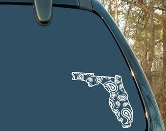 State Decal, Florida Decal, Mandala, Paisley, Car Decal, Laptop Sticker, Cup Decal, Mug, Truck, Woman Gift, Vinyl
