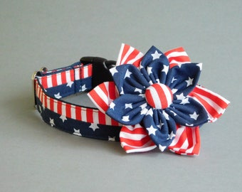 Patriotic dog collar with flower Navy for girl Girly dog accessory 4th of july Pet gift  Fourth of july Cute dog collar female Labor day