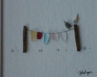 8 x 8 Clothesline & Birds, Original Pebble Art with Hand Made frame in your choice of stain color by Jodi Bolger