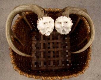 Handmade Reed Basket With Mule Deer Antler Handles, Wool Drying Basket With 2 Antler Spirit Carvings,OOAK