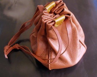 Handstitched to Order Nappa Leather Drawstring Pouch