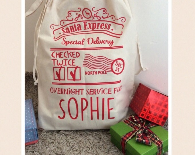 Featured listing image: Santa Sack,  Large Christmas Present Sack, Large Beige Sack, Large Xmas Stocking, Present Bag Children's name, North Pole Stamp