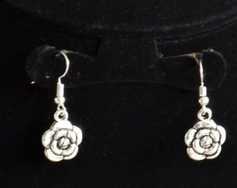 Rose earrings, sterling silver gift for her, perfect Mother's day gift or as a gift for a gardening enthusiast with choice of earring hook