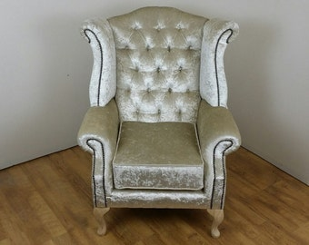 Queen Anne style chair in Ivory Crushed Velvet