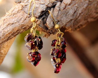 Gifts for best friends cluster earrings January birthstone Jewelry gemstone Jewelry gemstone earrings Garnet Jewelry Garnet earring for mom