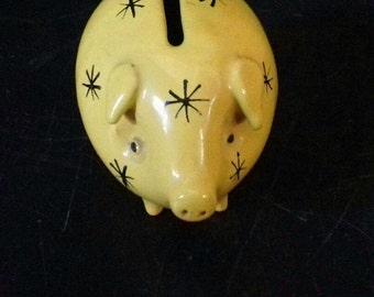 Vintage Ceramic Yellow Piggy Bank Money Box with Stars