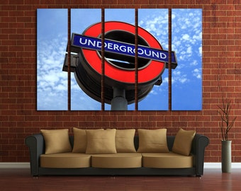 Large Wall Sign Underground Canvas Color Sign  Multipanel Canvas London Underground Canvas Art Large Sign 1-3-4-5 Panel Underground Print