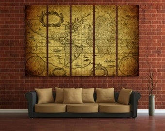 Old world map canvas etsy old world map wall art vintage world map canvas print wall art world map wall decor gumiabroncs Images