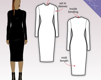 XS-XL Bodycon midi dress with long sleeves and crew neckline (PDF sewing pattern for jersey)