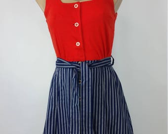 60s Mod mini dress red white and blue. Festival. Byer California. Size S.