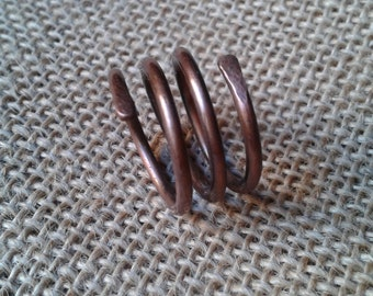 Copper ring, spiral, spiral ring three laps