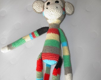 multi-coloured monkey amigurumi plush