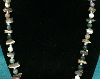 """Abalone Chips, Hematite squares, Fancy Jasper, glass bead 20"""" necklace"""