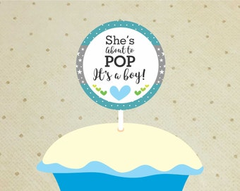 Printable Baby Shower Cupcake Toppers – Baby Shower Decorations Boys – About To Pop Cupcake Toppers - It's a Boy Cupcake Toppers.