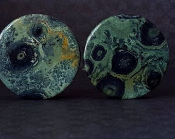 """Green Jasper Organic Stone Plugs (1 7/16"""") 36mm"""