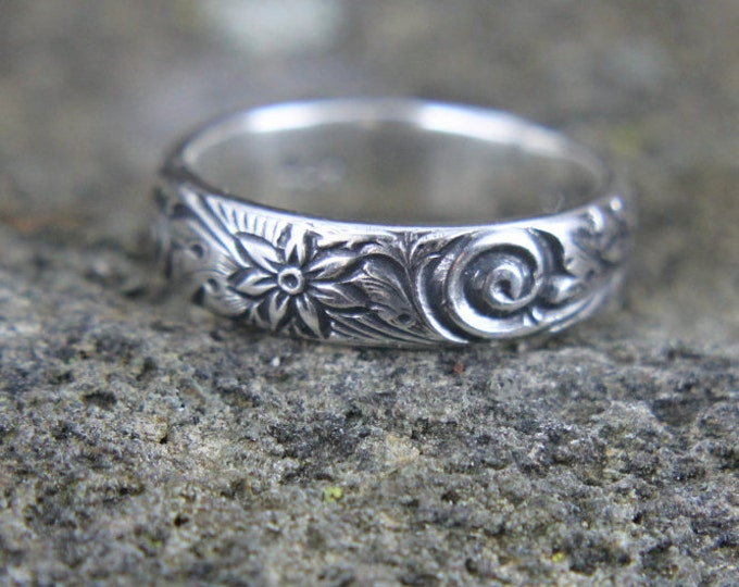 Sterling Silver Wedding Band, Embossed Flower and Wave Pattern Design, Floral Ring for Him or Her, Mans or Womans Anniversary Promise Ring
