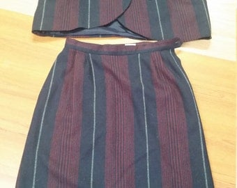 Vintage, Suit, Dark Navy, Burgundy, plaid,  twill, wool , A Line skirt,  acetate lined, & matching 2 button,  jacket, made in Korea
