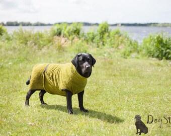 Dog Bathrobe moss green - Made to Order - Doggy bathrobe