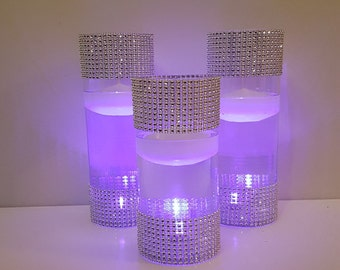 Wedding Centerpiece, Purple Decor, Rhinestone Vases, Silver and Purple, LED Centerpiece, Diamond Mesh, Wedding Decor, Silver Vases