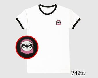 Buy 2 Get 1 Free Pink Sloth Embroidered Ringer T-Shirt by 24PlanetsStudio