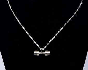Stainless Steel Silver Dumbbell Charm Necklace