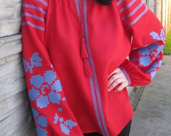 Bright red Ukrainian vyshyvanka blouse of 100% linen-Ukrainian clothing boho blouse Ukrainian folk shirt Embroidered ethnic modern
