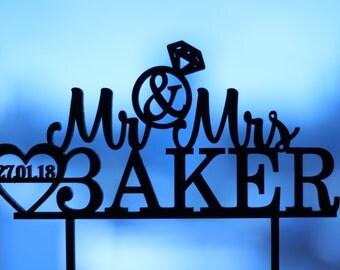 Mr and Mrs Cake Topper - Wedding Cake Topper